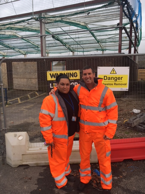 Alan Lingwood Director with Andrea Conkova at Amey Sersa site, Bolton