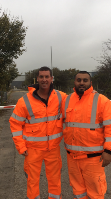 Alan Lingwood Director with Mohammed Munir at Amey Sersa site, Alker Lane, Bolton